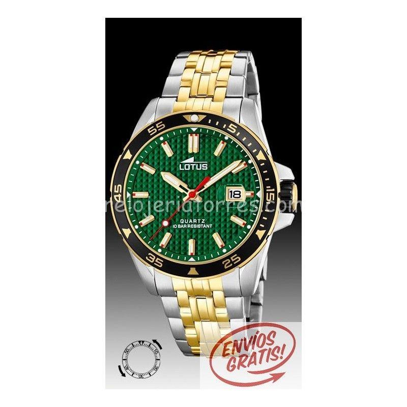 0f4ac8868b40 Reloj Lotus de hombre Chrono 18655 2 bicolor verde